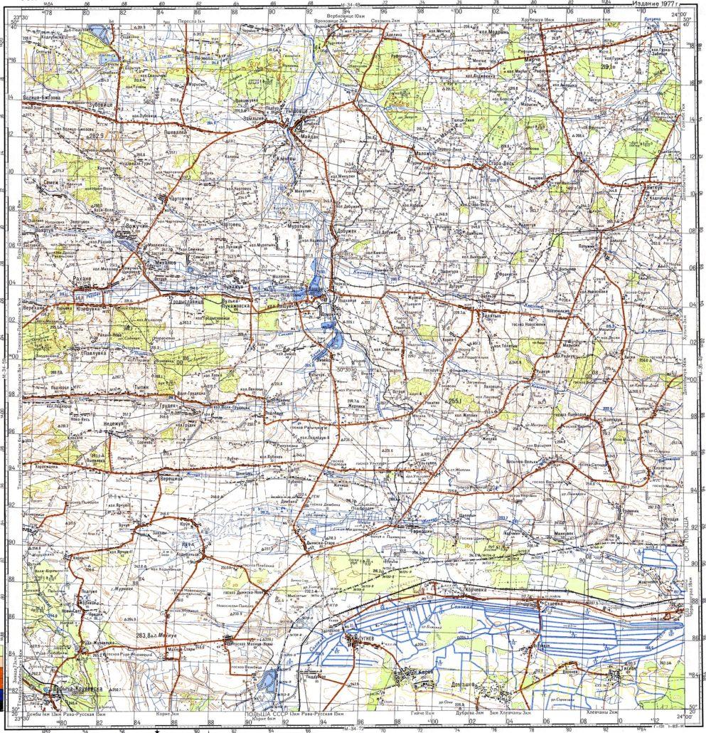 Топографічна карта львівської області
